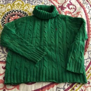 Green Cable Knit Turtleneck Sweater by Polo